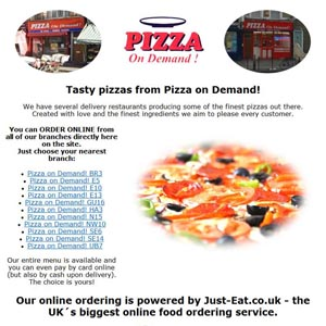 Pizza On Demand Pizza Delivery Take Away In London
